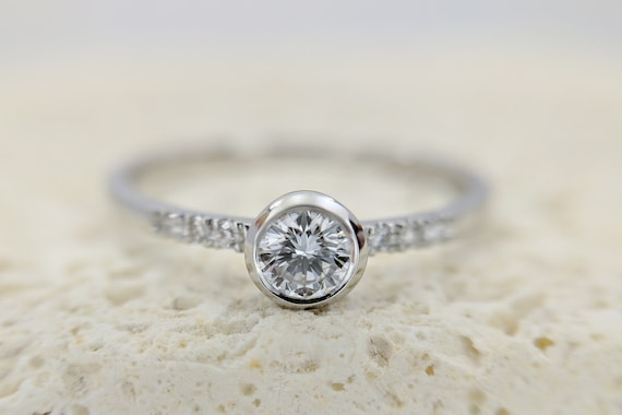 Round Moissanite Engagement Ring Minimalist Dainty Pave Ring Simple Bezel Set Round Brilliant Rose Gold