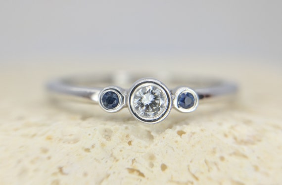 Dainty three stone ring ~ Minimalist 3 stone ring ~ Thin delicate sapphire gemstones diamond promise wedding bridal Ring