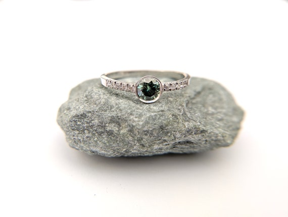 Green Moissanite Pave Diamond Ring White Gold Engagement Ring