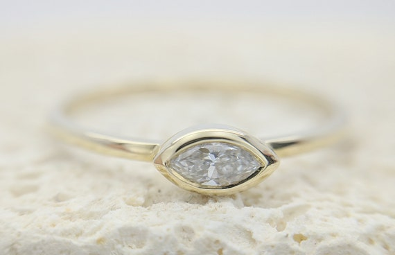 Natural Certified Marquise Cut Diamond Ring Bezel Set Engagement Simple Dainty Thin Delicate Bridal Minimalist Rose Gold Ring