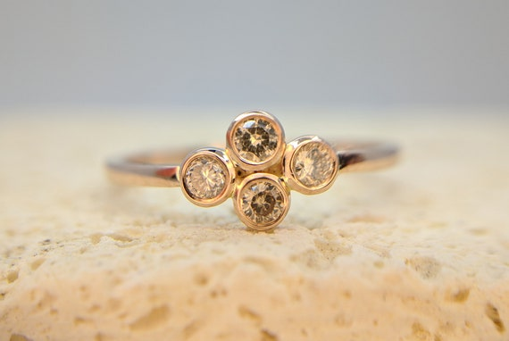 Dainty Champagne Diamond Ring Fancy Color Engagement Ring Rose Gold Ring Thin Brown Diamond Bridal ring