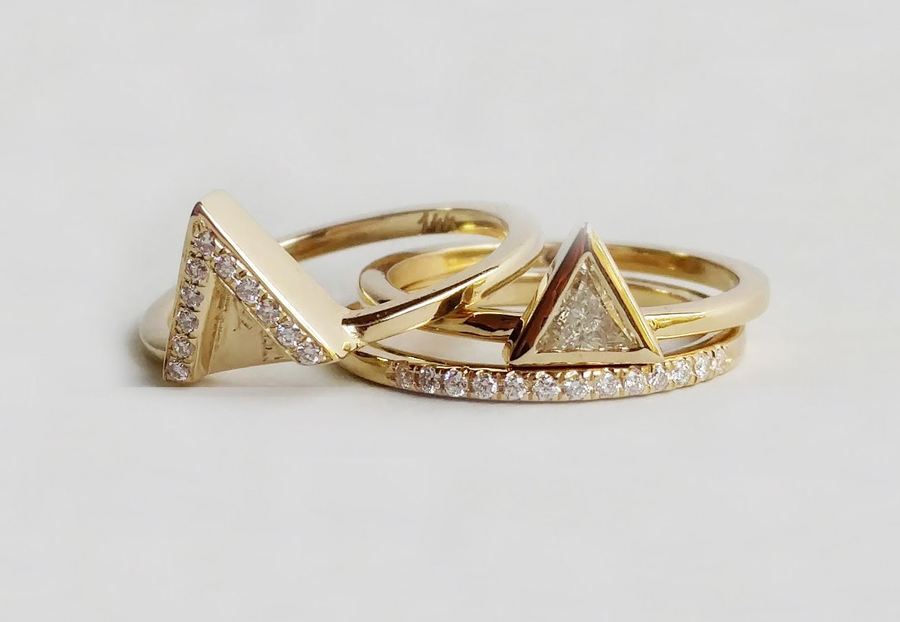 1a0010d90fa8a Triangle Diamond Engagement 3 Ring set Unique Trillion Diamond Ring ...