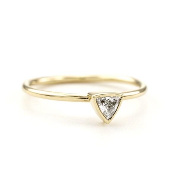 Trillion Engagement Ring ~ 0.10 Carat Diamond Ring ~ Triangle Diamond Ring ~ Simple Bridal Ring