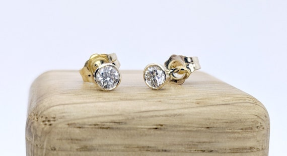 Bezel Set Diamond Earstuds Bridal Earrings Delicate Natural Diamond Dainty Diamond Ear studs Rose Gold Stud Earrings
