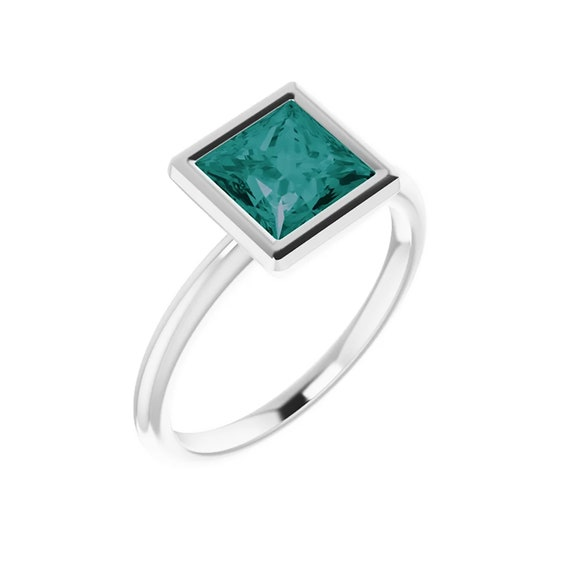 Alexandrite ring | Princess Cut Alexandrite Engagement Ring | Square Alexandrite Stone | Color changing alexandrite gemstone |Gift For Women