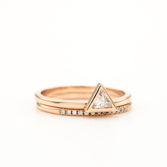 Triangle Diamond Ring Set Trillion Diamond Engagement Set Minimalist Trillion Diamond Ring Rose Gold Wedding Ring Set