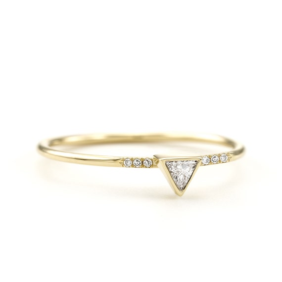 Pave Trillion Diamond Ring Minimalist Triangle Diamond Engagement Ring Rose Gold Yellow Gold White Gold Ring Thin Trillion Ring Simple Ring