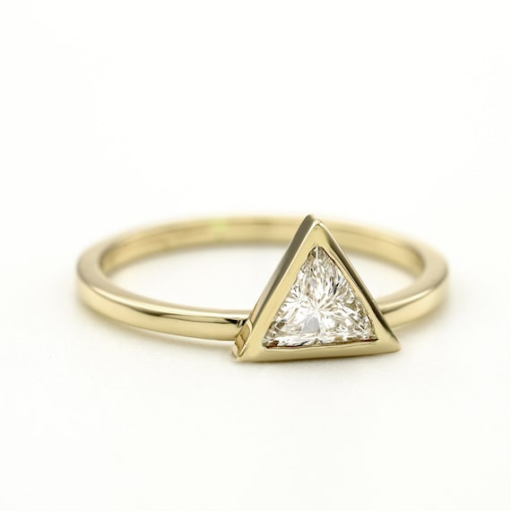 0.50 Carat Triangle Diamond Ring Engagement Trillion Cut Diamond Triangle Delicate Simple Bridal Rose Gold Ring