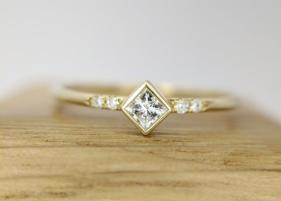 Princess Cut Diamond Ring | Minimalist Engagement Ring | Square Diamond Ring | Moissanite Ring | Gift for women