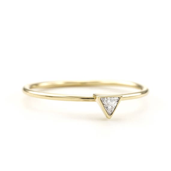 Trillion diamond ring Simple Triangle shape Engagement Ring Thin Dainty Delicate Bridal Solitaire Unique Modern Alternative Rose Gold Ring