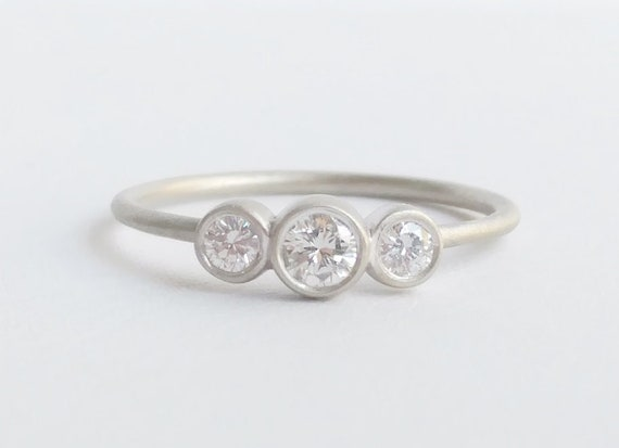 Three Stone Moissanite Engagement Ring 3 Stone bezel set Gold Ring Anniversary Wedding Bridal Promise Gift Rose Yellow White