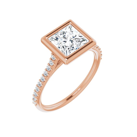Moissanite Princess Cut Ring | 1.5 Carat Moissanite Ring | Square Moissanite Pave Ring | Gift for women