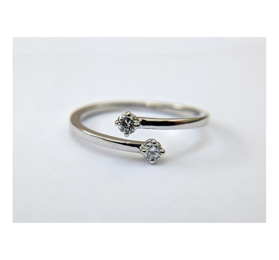 Dual Diamond Engagement Ring | Two Stone Ring | Toi et Moi | Double Lab Grown Moissanite Ring | Cuff Engagement Ring | You & Me Wedding Ring