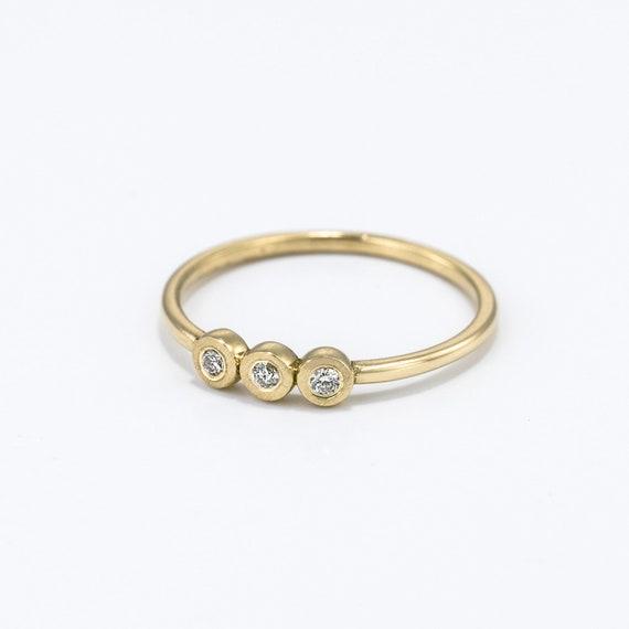 Three Diamond Ring ~ Minimalist Diamond Engagement Ring ~ Rose Gold Diamond Ring