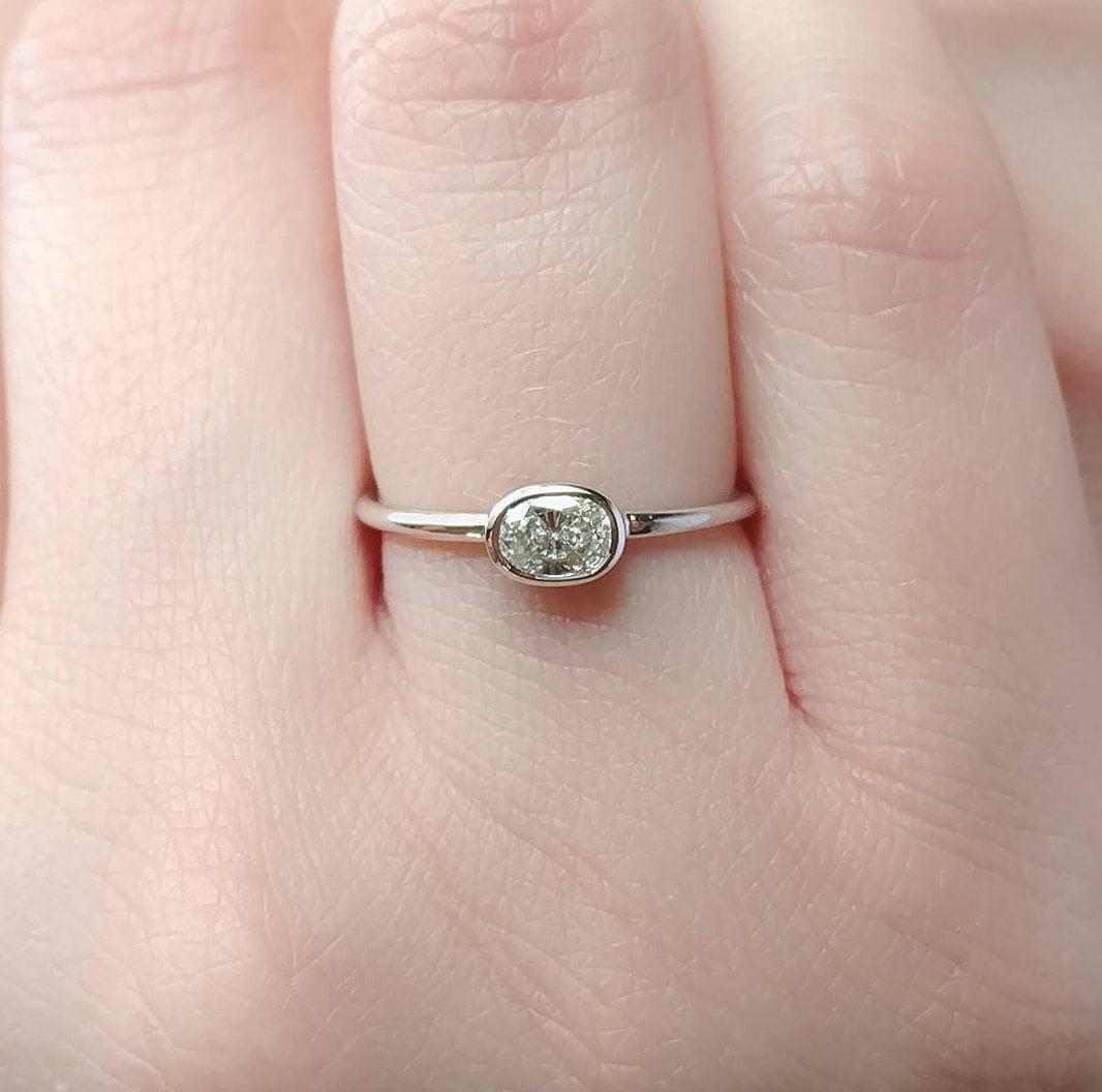 Cushion Diamond Engagement Ring Bezel Custom Fine Unique Minimalist ...