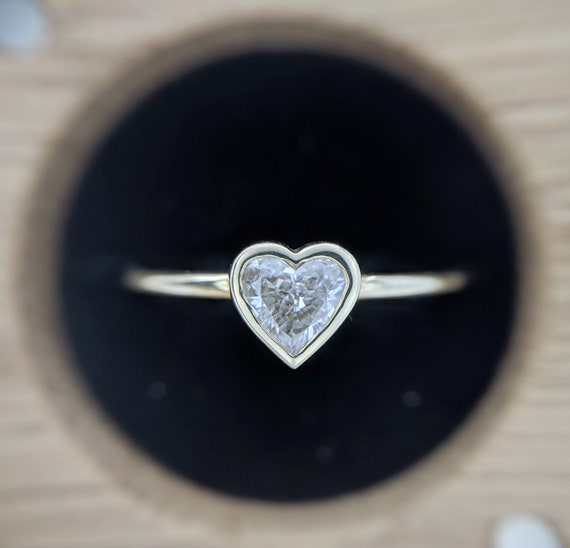 Heart Diamond Ring  Heart Shape Diamond Solid Gold Ring Heart Diamond Engagement Ring Rose Gold Heart Solitaire Ring