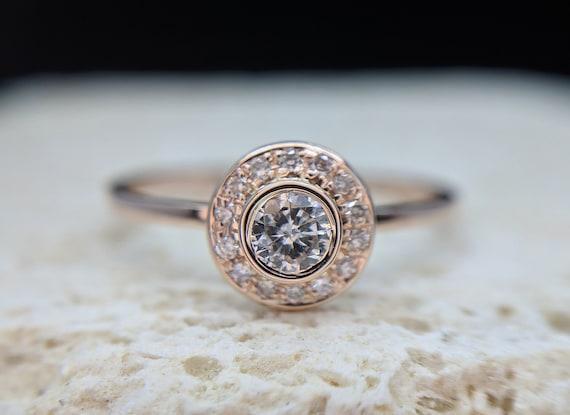 Halo Diamond Engagement Ring Round Brilliant Pave Bezel Ring Rose Gold Yellow Gold Gemstone Ring