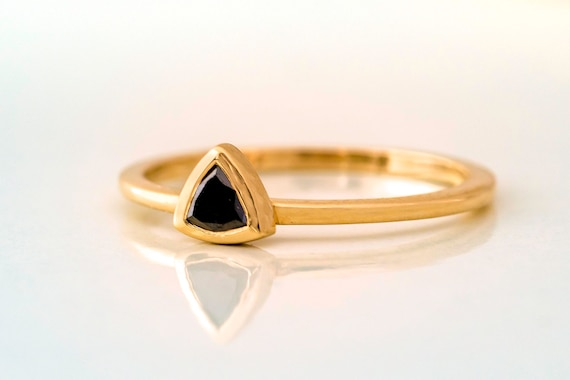 Black Diamond Triangle  Ring Trillion Gold Ring Triangle Cut Diamond Thin Black Trillion Ring Dainty Black Diamond Engagement Ring