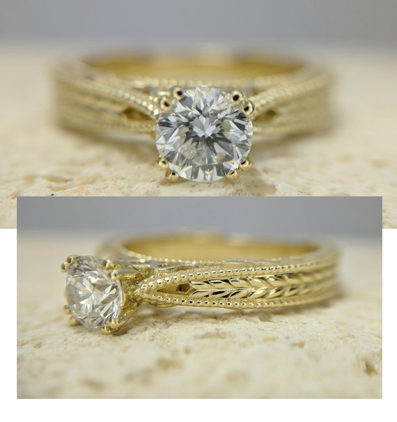 Antique Style Leaves Filigree Game Of Throne Styled Diamond Engagement Ring Certified Round Brilliant Diamond Solitaire 0.35-0.57 Carat