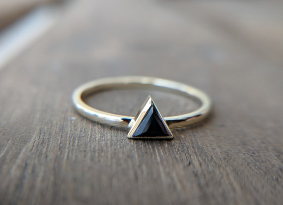 Triangle Black Sapphire Ring Delicate Ruby Engagement Ring Green Emerald Trillion Ring Dainty Rose Gold Ring Simple Yellow Gold Ring