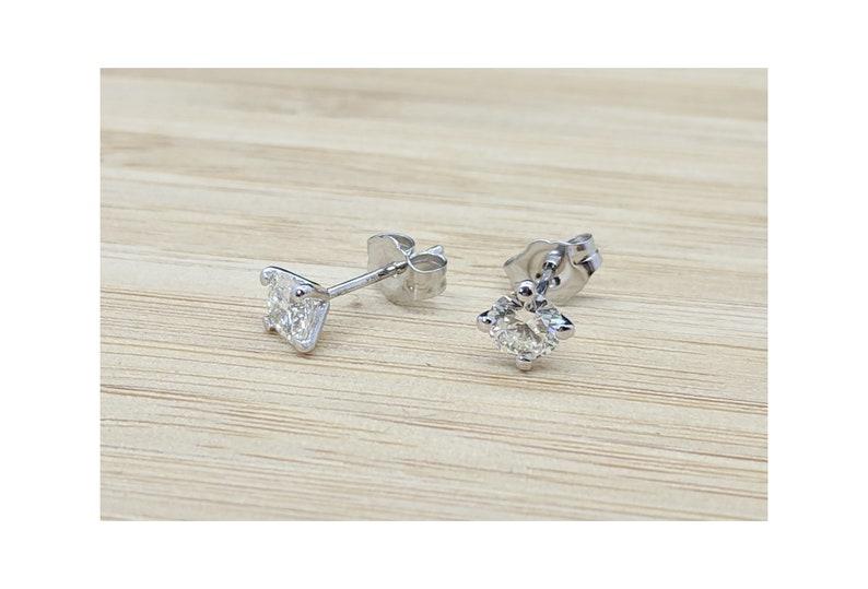 Diamond Earstuds Bridal Earrings Delicate Natural Diamond Dainty Martini Diamond Earstuds Rose Gold Stud Earrings