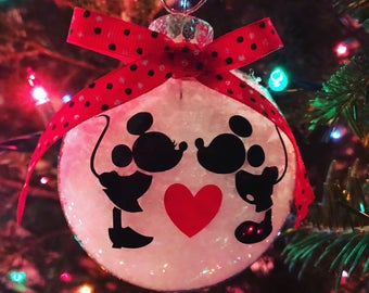 mickey and minnie ornament mickey and minnie christmas disney christmas disney ornament gift love ornament wedding gift mickey mouse