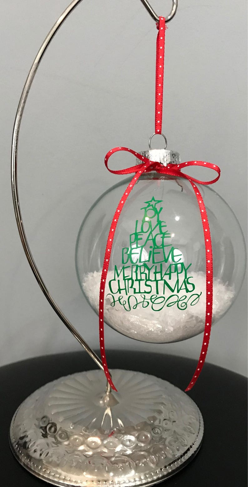 Christmas Ornaments Clear Glass Ornaments Ornaments With Saying Snow Filled Ornaments Gift Christmas Tree Decor Unique Ornament