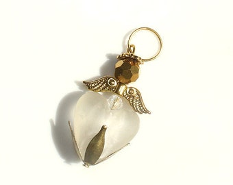 Beaded Heart Angel Charm gold Ornament Hand bag Key Chain Purse Accessories Jewelry Christmas Birthday Gift for  her woman wife