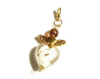 Beaded Heart Angel Charm gold Ornament Hand bag Key Chain Purse Accessories Jewelry Christmas Birthday gift for her woman wife girlfriend