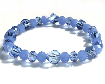 Woman Bracelet from blue Jade Gemstone Crystals and blue glass crystals Jewelry Birthday gift Mother's Day for her for woman for wife