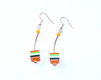 Earrings Cube colorful striped silver ear hangers spring summer jewellery birthday gift for her woman wife sister girl friend