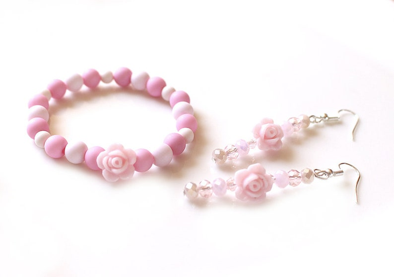 Rose Bracelet and earrings rosa Summer Jewelry Set Boho Flower Power Womens Bracelet for Girls Birthday Gift for Her for Girlfriend