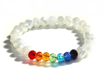 Crystal Chakra Bracelet white glass crystal beads chakra colors Woman's Jewelry Birthday Gift for her for woman wife for girlfriend