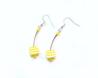 Earrings Cube yellow striped silver ear hangers spring summer jewellery birthday gift for her woman wife sister girl friend