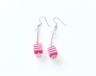 Earrings Cube pink striped silver ear hangers spring summer jewellery birthday gift for her woman wife sister girl friend