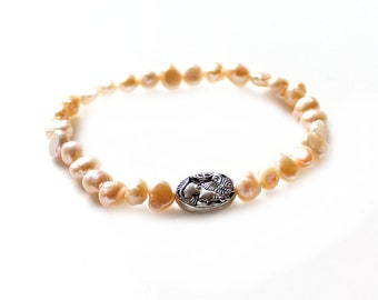 Bracelet Freshwater pearls nuggets salmon pink silver cameo Women's Jewelry Birthday Gift for her Mother's Day for woman for wife girlfriend