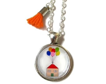 BALLOONS NECKLACE - Up necklace - Flying House - Flying Dreams - Colorful balloons - children necklace - Gift for girl - Necklace for kids