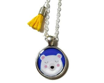 CUTE BEAR NECKLACE - Little girls necklace - Blue white necklace - Girls jewellery - Girls birthday gift - Bear necklace - Christmas gift