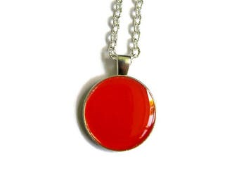 RED PENDANT NECKLACE - Red Jewelry - Red Necklace - Tassel Necklace - Red Statement Necklace - Colorful Jewerly - Gift for Girl -
