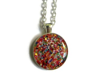 RAINBOW Sparkle necklace - silver charm necklace - tiny charm necklace - glitter necklace - girl necklace - flower girl gift - kid gift