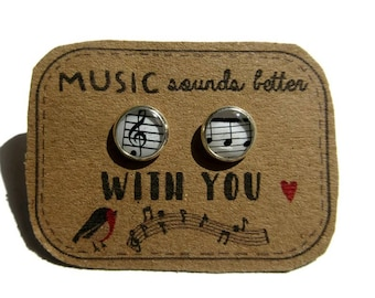 MUSIC NOTES Sol Key Studs - Melodic Tiny Figures - Everyday Earrings - Gift Girls - Musician - Kids - Music Lover