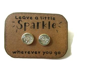 SILVER GLITTER EARRINGS - glitter jewelry - Earring for girls - post earrings - holiday gift - gift for girls - flower girl gift - for Girls