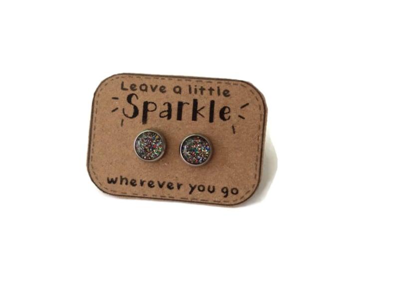 RAINBOW GLITTER EARRINGS  glitter jewelry  Earrings for image 0