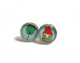 HOUSE EARRINGS - Cute Tree Earrings - Cute Jewelry - Cute Stud Earrings - Gifts for Girls - Mismatched Earrings - Kids Earrings