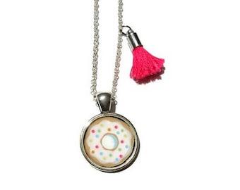 DONUT NECKLACE  - Small Doughnut Pendant Necklace, Kawaii Necklace, Resin Jewelry - Food Jewelry - Girl Necklace - Kids Jewelry