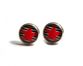 TINY EARRINGS - Girls earrings - Star Earrings - Tiny Star Earrings - small earrings - tiny stud earrings - red star - earrings for kids