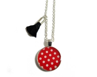 GIRL NECKLACE - Holiday Jewelry - Girl gift - princess - children fashion - cute necklace - white red polka dot - Girls Necklace - Kids