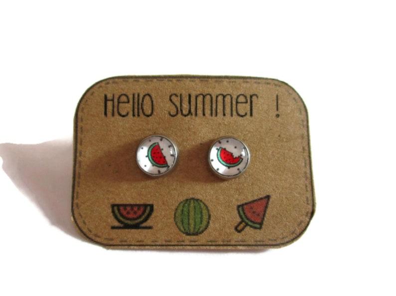 Girls Gift watermelon EARRINGS Sweet Lolita Cute Earrings- mix match Kawaii Earrings -summer earrings Summer Earrings