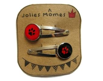 2 dog paw HAIR CLIPS - girls hair clips- puppy hair accessories- hair pin- hair clip set- hair bows- hair barrettes- felt hair clips