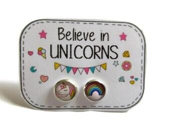 Rainbow Unicorn Earrings - kids Earrings - Unicorn Stud Earrings - Hypoallergenic - Kawaii - Rainbow Earrings - Girls Earrings - for kids